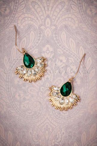 20s Crystal Fan Drop Earrings in Gold and Green