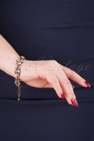 20s Crystal Leaves Bracelet in Gold