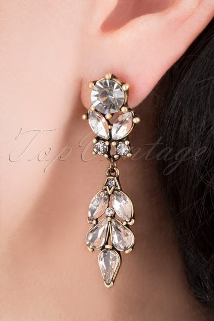 20s Crystal Leaves Earrings in Gold