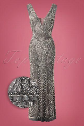 20s Grace Embellished Maxi Dress in Slate