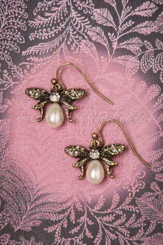 30s Bumble Bee Pearl Drop Earrings in Gold