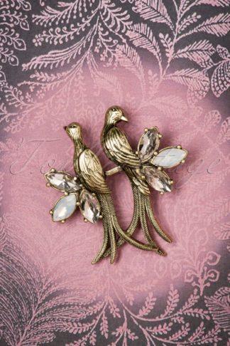 30s Crystal Love Birds Brooch in Gold