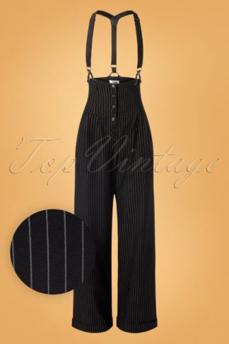 30s Thelma Pinstripe Trousers in Black