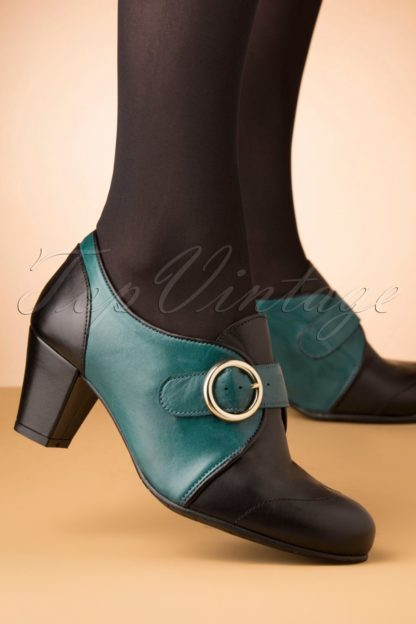 40s Agatha Leather Shoe Booties in Black and Teal