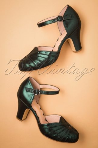 40s Amber Mary Jane Pumps in Sparkly Teal