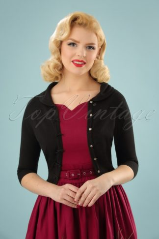 40s April Bow Cardigan in Black