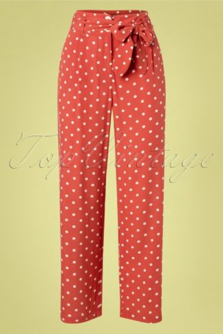40s Ava Pablo Straight Pants in Apple Pink