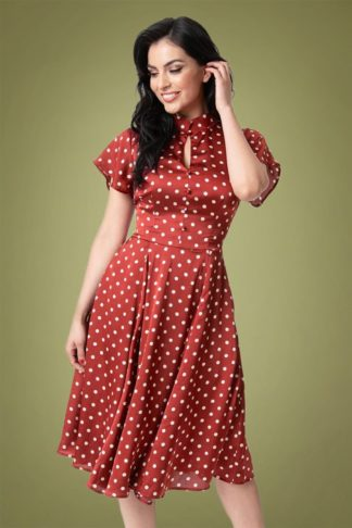 40s Baltimore Dotted Satin Swing Dress in Burgundy