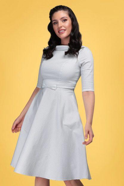 40s Bertha Mini Polka Dot Swing Dress in Ivory and Black