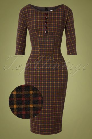 40s Caroline Pencil Dress in Plaid