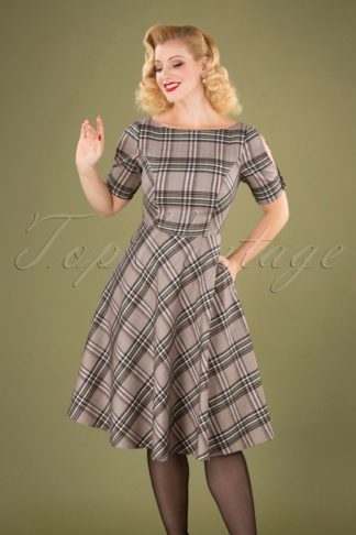 40s Check About Swing Dress in Multi