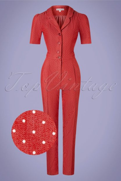 40s Classic Dots Jumpsuit in Denim Red