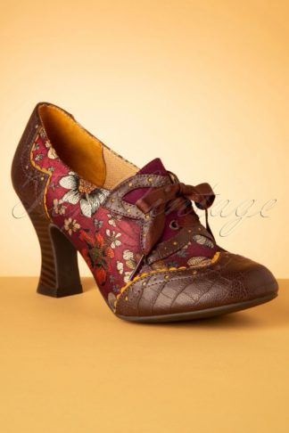 40s Daisy Floral Booties in Russet