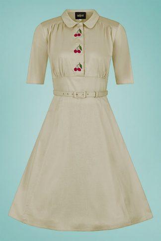 40s Doriane Cherry Swing Dress in Beige