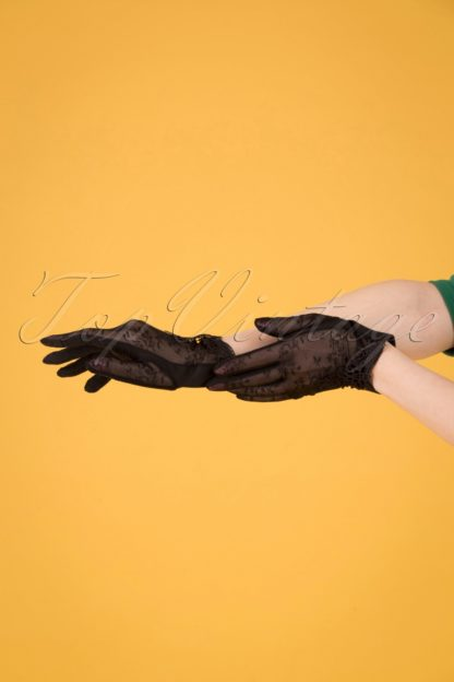 40s Embroidered Mesh Wrist Gloves in Black