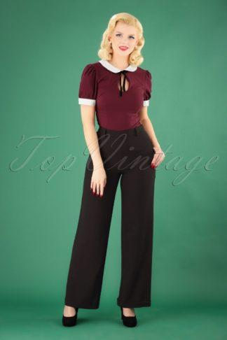 40s Ethel Woven Crepe Pants in Black