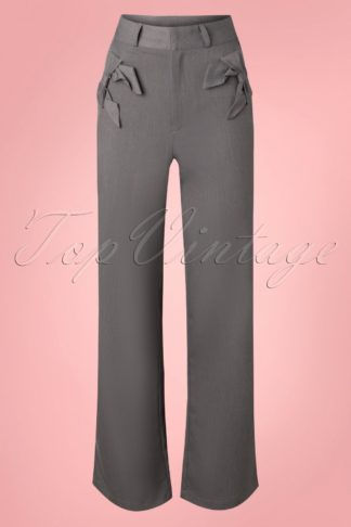 40s Gail Bow Wide Trousers in Grey