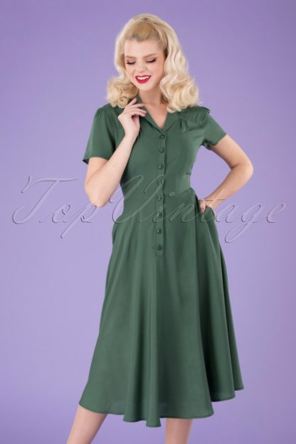 40s Gayle Plain Swing Dress in Green