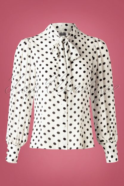 40s Gwen Dot Blouse in White and Black
