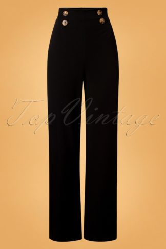 40s Mabbie Wide Trousers in Black