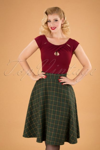 40s Polly Swing Skirt in Green