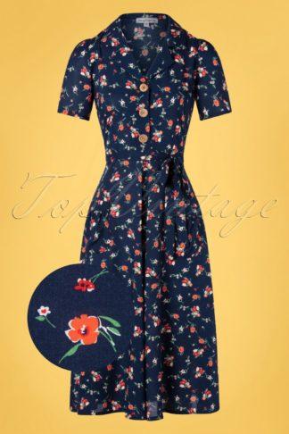 40s Primavera Revers Midi Dress in Navy