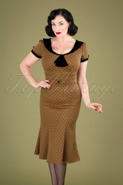 40s Raileen Polkadot Pencil Dress in Cappuccino