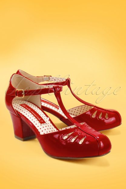 40s Robbie T-Strap Pumps in Patent Red