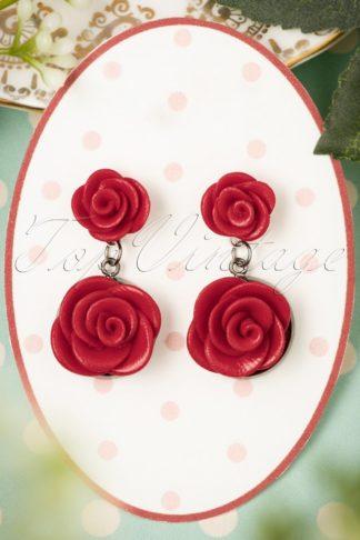 40s Romantic Red Roses Earrings