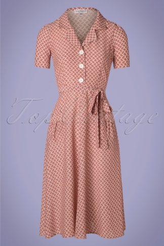 40s Rumba Revers Midi Dress in Dusty Pink