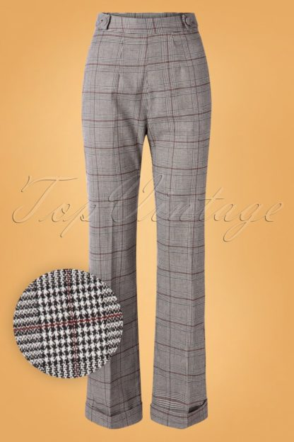 40s The Classy Tartan Trousers in Grey