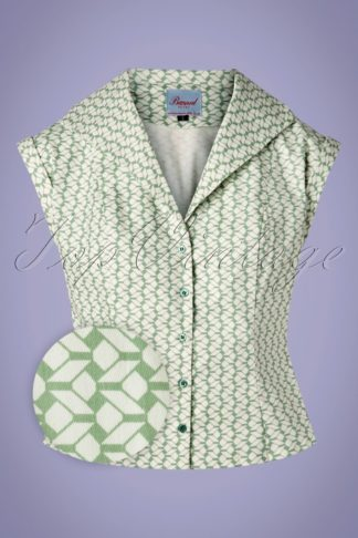 40s Tina Tile Blouse in Mint