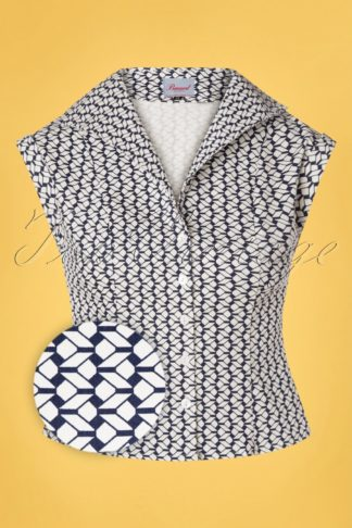 40s Tina Tile Blouse in Navy