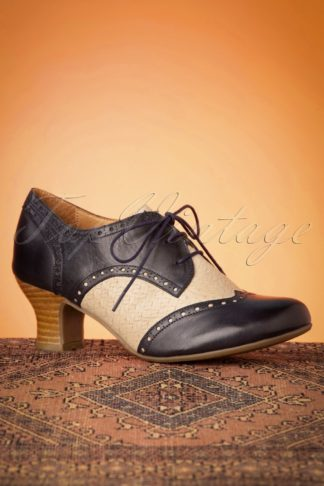40s Tully Leather Shoe Booties in Navy and Cream