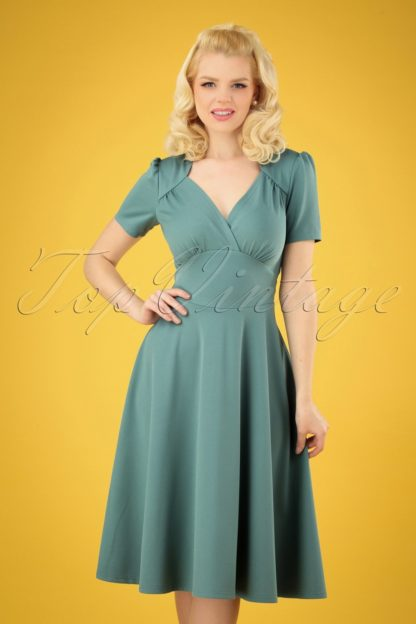 40s Vivienne Hollywood Circle Dress in Soft Blue