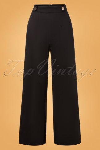 40s Winona Wide Trousers in Black