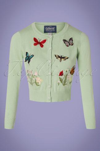 50s Abigail Butterfly Cardigan in Mint Green