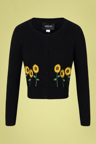 50s Abigail Sunflower Cardigan in Black