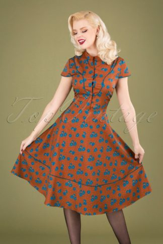 50s Ada Button Down Swing Dress in Hazel