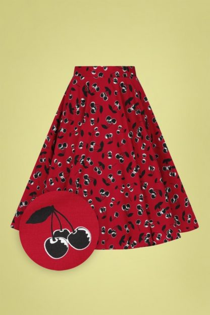 50s Alison Swing Skirt in Red