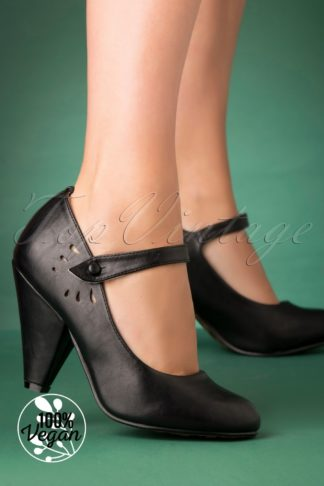 50s Allie Mary Jane Pumps in Black