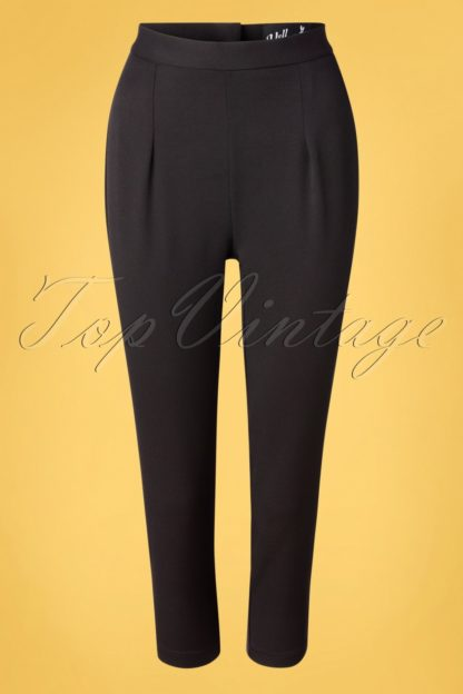 50s Amelie Cigarette Trousers in Black