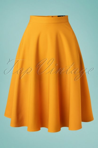 50s Amelie Swing Skirt in Gold Yellow
