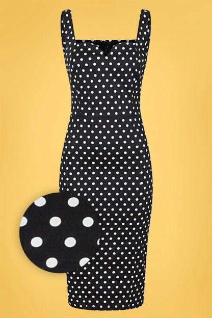 50s Anita Polka Dot Pencil Dress in Black