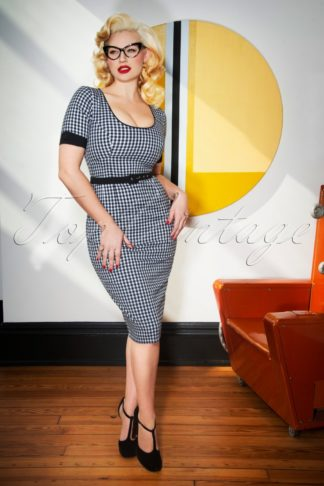 50s Annie Gingham Pencil Dress in Black and White