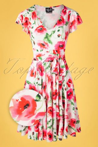 50s Aquarelle Flower Dress in White