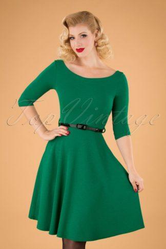 50s Arabella Swing Dress in Emerald Green