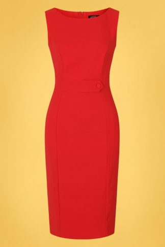 50s Aretha Wiggle Dress in Lipstick Red