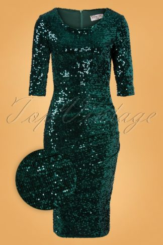 50s Ariël Sequin Pencil Dress in Sea Green Velvet