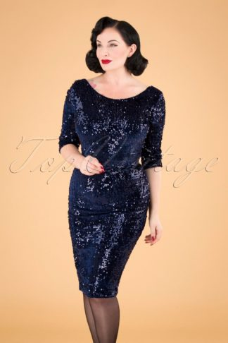 50s Arlyne Sequin Pencil Dress in Navy Velvet
